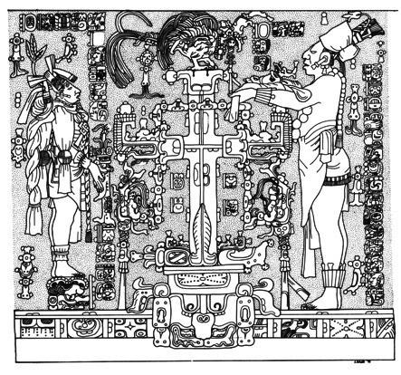 L'arbre cosmique, bas-relief du temple de la croix à Palenque (692 apr. J.-C.)