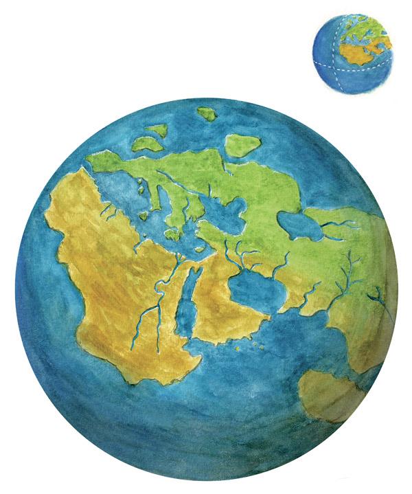 La terre selon Eratosthène (©Guillaume Duprat, Le Livre des Terres imaginées, Seuil, 2009)