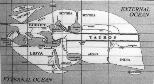 carte selon Eratosthène (J. Thompson, Everyman's classical Atlas, Londres) présentée au Colysée de Rome.